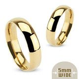 Devotion - Stainless Steel Gold Ion-Plated Wide Polished Traditional Wedding Band Ring