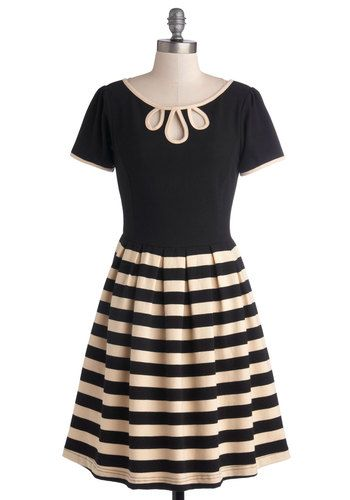 Twirl Next Door Dress by Dear Creatures - Black, Tan / Cream, Stripes, Cutout, Pleats, Work, Casual, A-line, Short Sleeves, Trim, Twofer, Be...