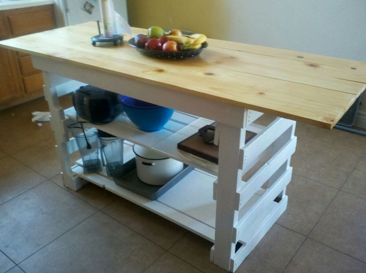 My perfect kitchen island out of pallets. I went on Ana White Homemaker's website. She give's you the master plan. And I just used her measurements but used my materials. And I worked with what I had.