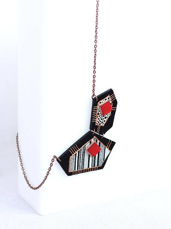 Leather Necklace Asymmetric Geometric Black Suede Black and