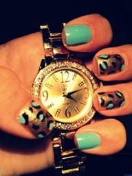 turquoise  gold leopard nails