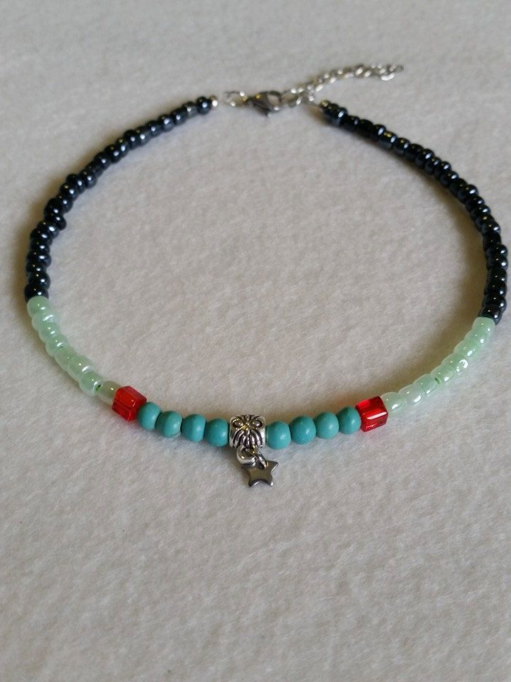 Turquoise and glass seed bead anklet