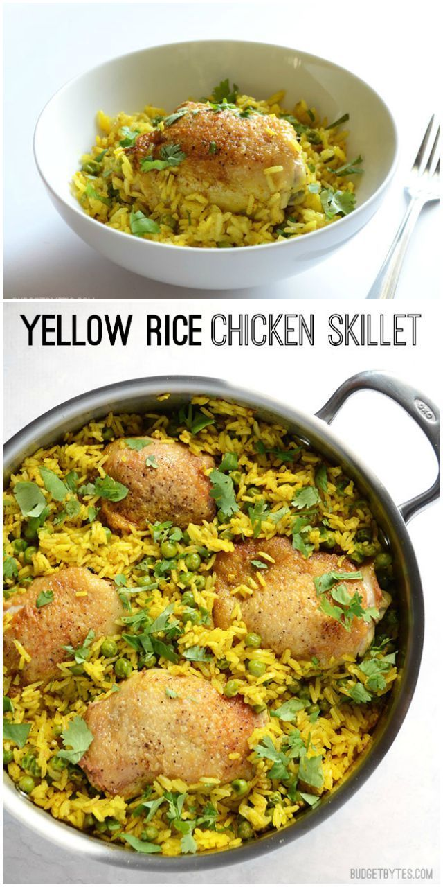 Jasmine rice, garlic, and fragrant spices are all cooked together in this Yellow Rice Chicken Skillet. It's a complete meal in one pan! @budgetbytes