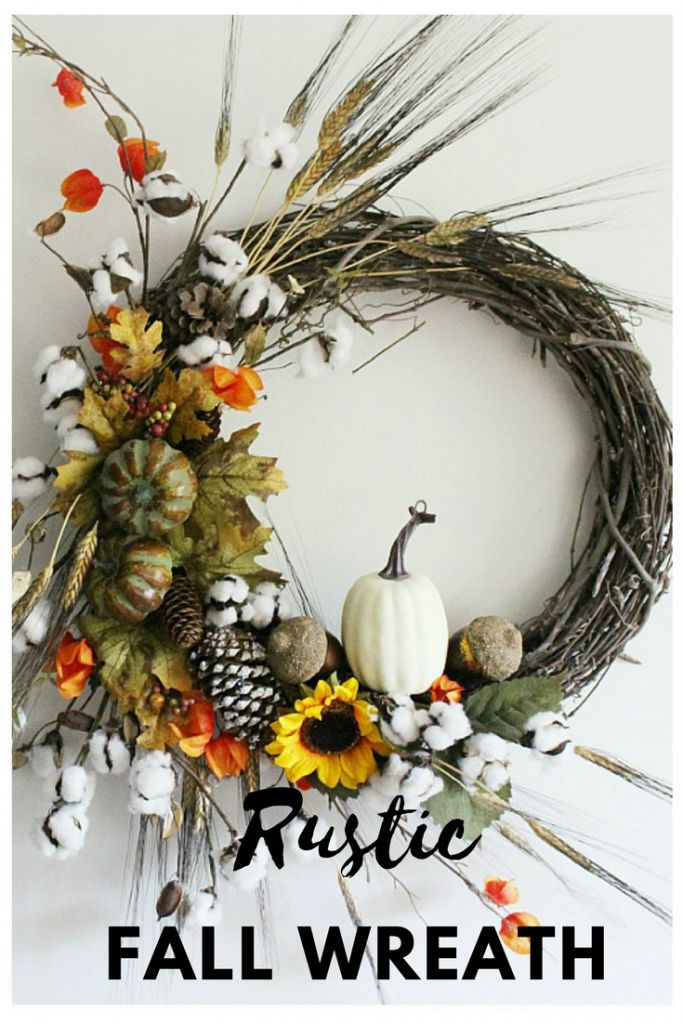 DIY Rustic Fall Grapevine Wreath from Our Crafty Mom, who is guest hosting on CentsibleChateau.com. Click the pic for directions! #fallwreath #wreath