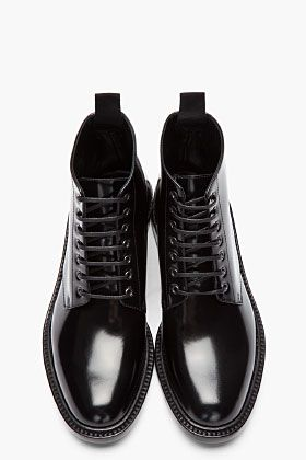 Saint Laurent black patent army 29 boots