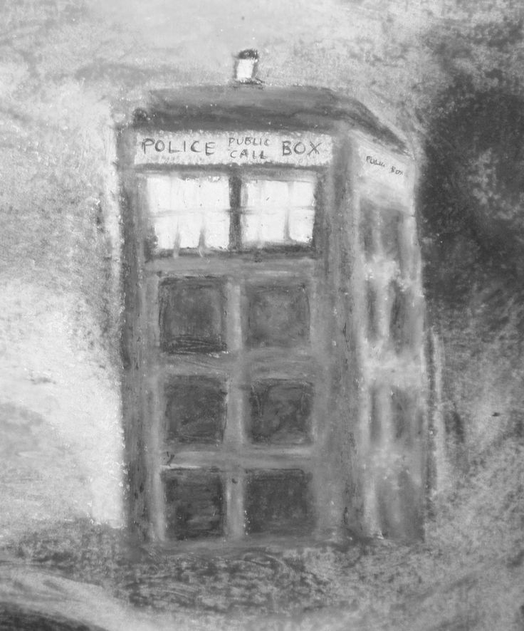 The TARDIS from Doctor Who I painted with only oil pastels. This is the black and white version. I have one in multicolors I will be selling as prints at my etsy store. - Tamara Blickhan (please keep pin info if repinning :) #TARDIS #TheDoctor #Whovian