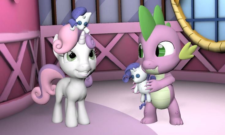 #1287979 - 3d, artist:pika-robo, cute, rarity, rarity plushie, safe, smiling, source filmmaker, spike, sweetie belle - Derpibooru - My Little Pony: Friendship is Magic Imageboard