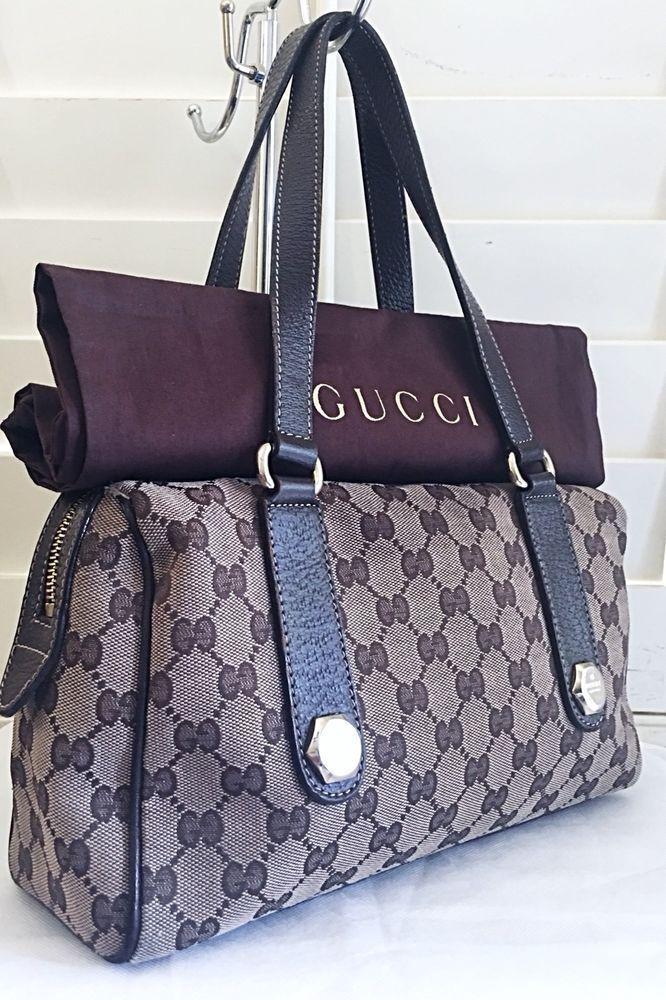 7b17b69f734 AUTHENTIC GUCCI MONOGRAM LEATHER SILVER LOGO HARDWARE HANDBAG PURSE W  DUST  BAG  Gucci  ShoulderBag