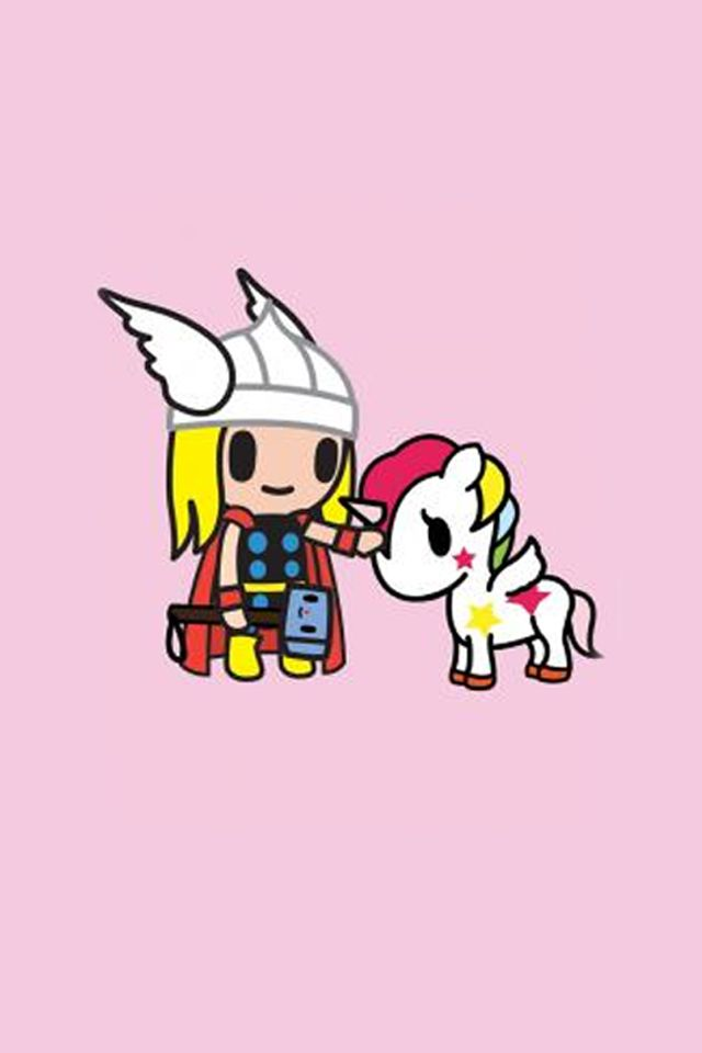 Just made 2 tokidoki marvel iphone wallpapers… Thor.  Super hero  Pinterest  A unicorn, 2