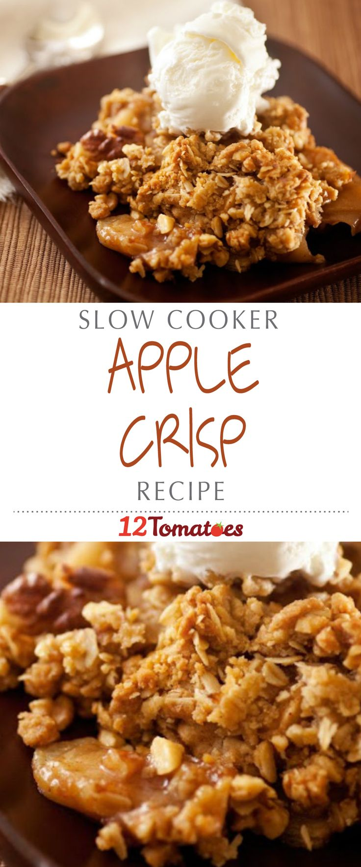 Slow Cooker Apple Crisp | Warm their tummies and satisfy your own sweet tooth with a slow cooker apple cinnamon crisp featuring the goodness of walnuts, apples, oatmeal, and sugar.
