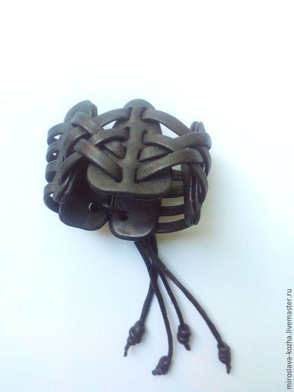 Купить Браслет из черной кожи - черный, браслет из кожи, подарок девушке, подарок женщине, подарок