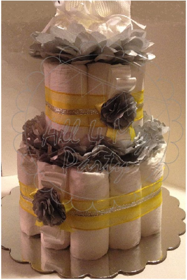 Grey and Yellow diaper cake by all4myparty