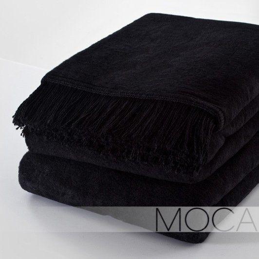 Koc z frędzlami czarny, 150x200 cm