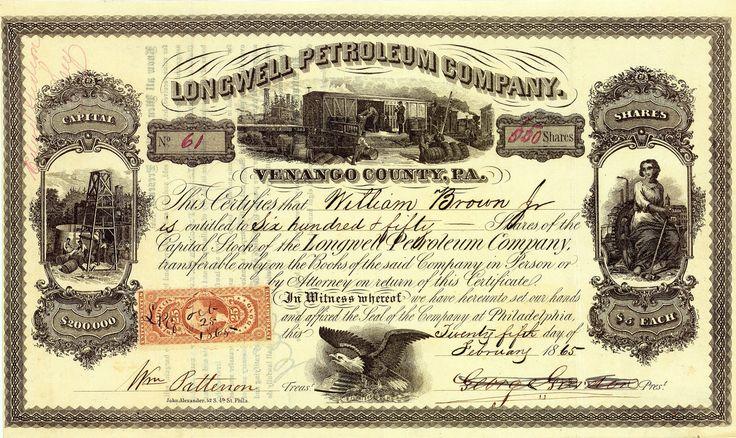 Longwell Petroleum Co., Philadelphia, Pa., Aktie von 1865 + ÄUSSERST SELTEN!