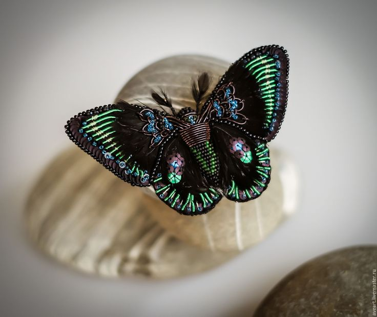 Nox.  Embroidered butterfly with feathers and antique sequins.