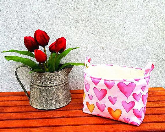 PINK HEART BASKET Valentines Day Gift bag Cute by VintageFromChris