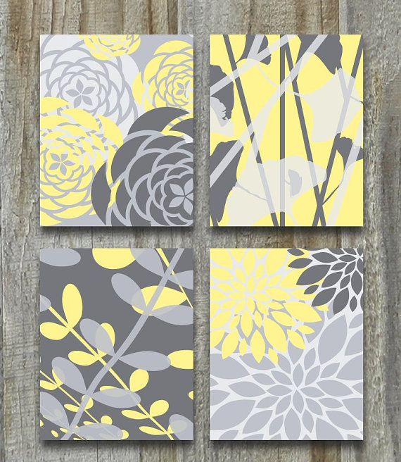 Yellow Gray Art Print Set Modern Vintage Floral Nature Prints 8x10 Set Of 4 Grey  Bedroom