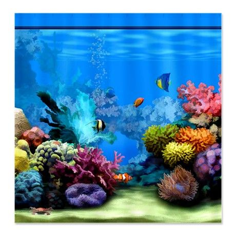 Tropical Fish Aquarium with Bright Colored Coral. This painting of a coral reef gives an exotic tropical feel to your bath. Makes the room feel much larger and more inviting. Also on this board, get a bath mat with a realistic image of soft beach sand to complete the look.