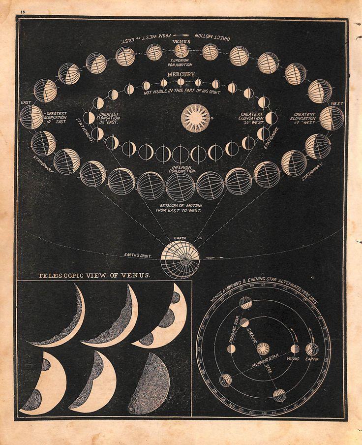 Astronomy, Venus, Planets, Orbit, Engraving, 19th Century, 1866 by IntaglioPrintsMaps on Etsy