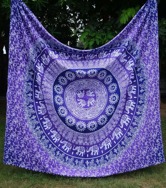Bohemian Hippie Boho Large Purple Multi Wall Hanging Tapestry Bedspread - GoGetGlam  - 1