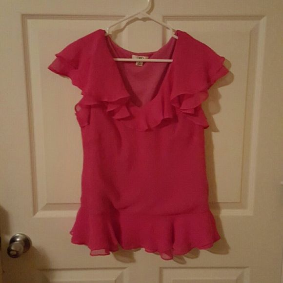 Coral blouse Ruffles. Very feminine. Like new Cato Tops Blouses