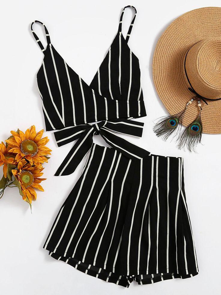 Stripe Surplice Bow Tie Open Back Crop Cami Top With Shorts – AMBRE DAWN