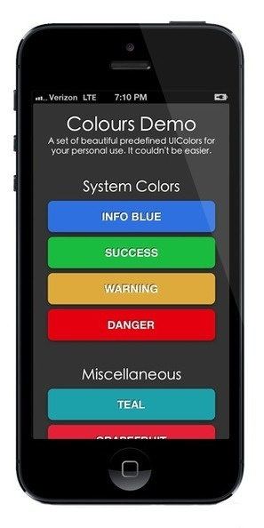 Colours-for-iOS: A beautiful set of 100 predefined UIColors, and UIColor methods, ready to use in your next iOS project.