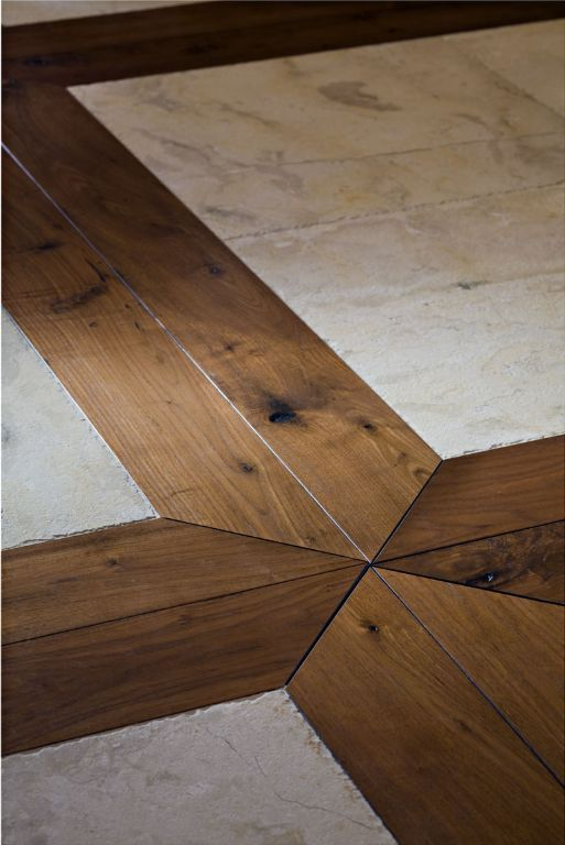 The mitered corner points take this flooring design to a whole new level.  Use tile and wood ... - 255 Best Images About WOOD AND TILE On Pinterest Kitchen Floors