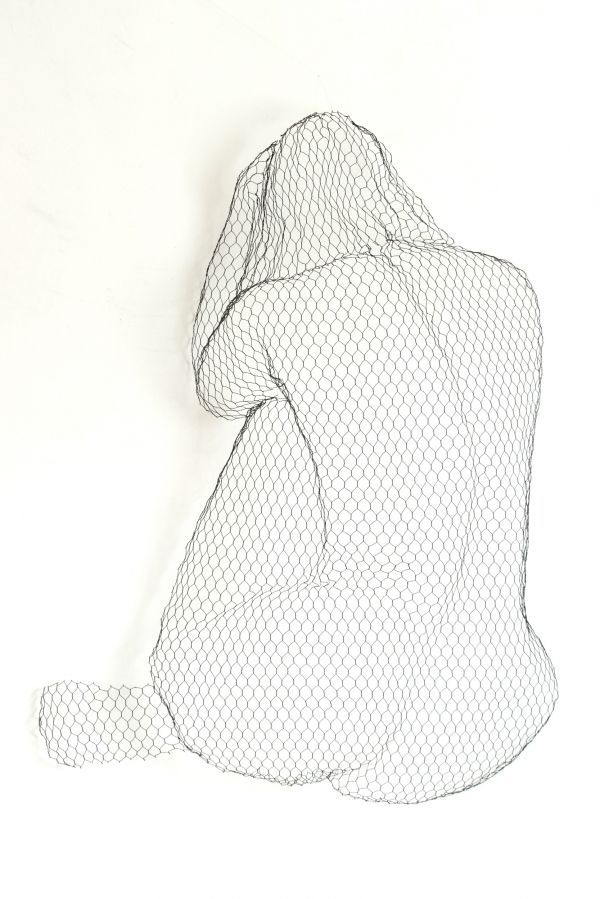 Chickenwire Wall Mounted or Wall Hanging sculpture by artist William Ashley-Norman titled: 'Misery (Sitting nude Girl Sexy Chicken Wire Mesh Wall statue)'