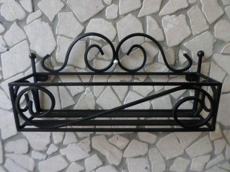Mensola in ferro battuto porta spezie cucina col. Nero da parete