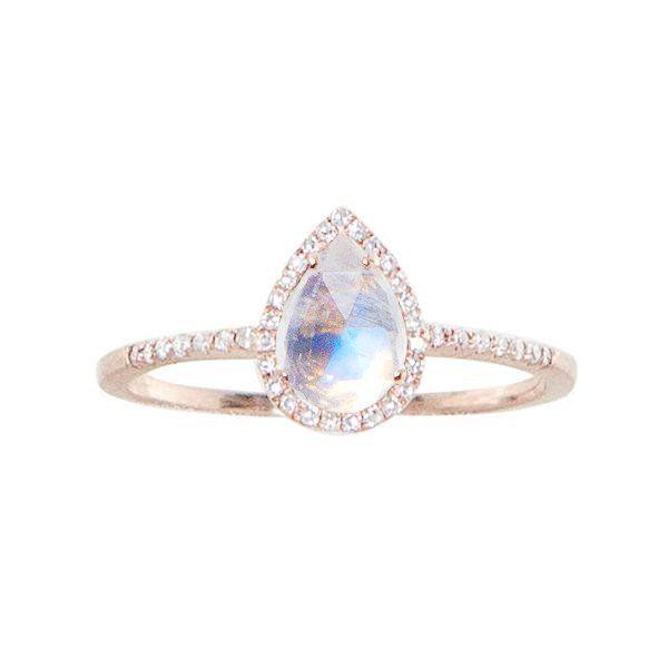 14kt gold and diamond single band teardrop moonstone ring – Luna Skye