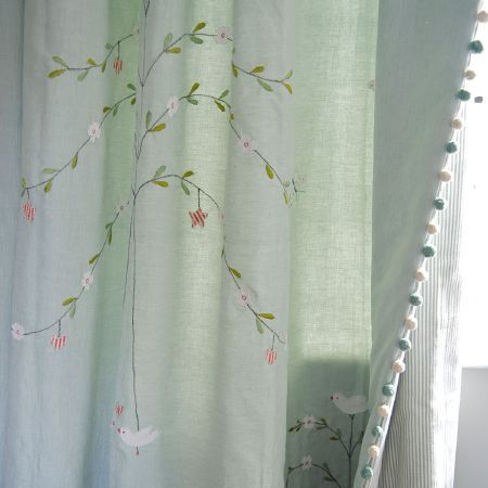 Susie Watson Designs - Susie Watson Designs Fabric Collection - Grey and white pinstripes on the reverse side of duck egg blue, green, pink and white floral and bird patterned curtains