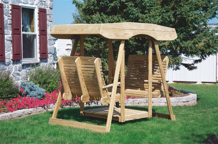 Amish Pine Double Lawn Swing Glider with Canopy Enjoy your outdoor space with the whole family on an Amish Pine Double Lawn Swing Glider with Canopy. Shaded swing set is covered, shielding you from the sun. Made of solid pine wood; beautiful and affordable!
