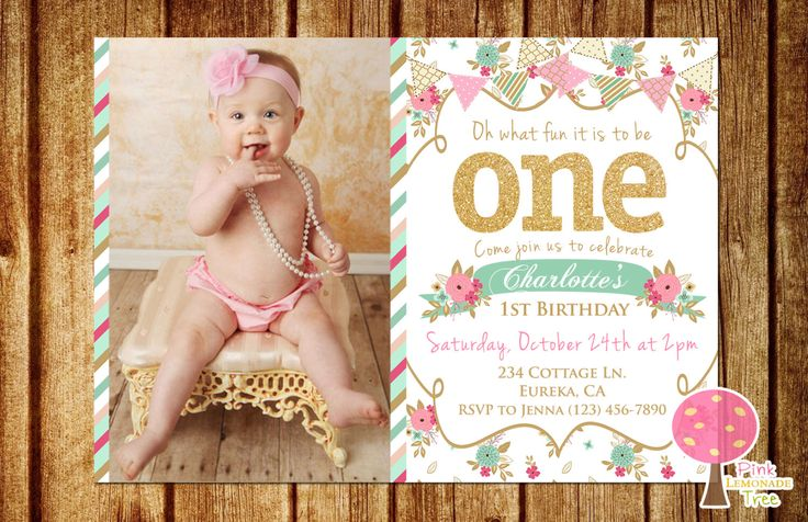 Shabby Chic First Birthday Party Invitation, Gold Glitter Birthday Invitation, Pink and Mint, One, Floral Invite, First Birthday by PinkLemonadeTree on Etsy https://www.etsy.com/listing/241862129/shabby-chic-first-birthday-party