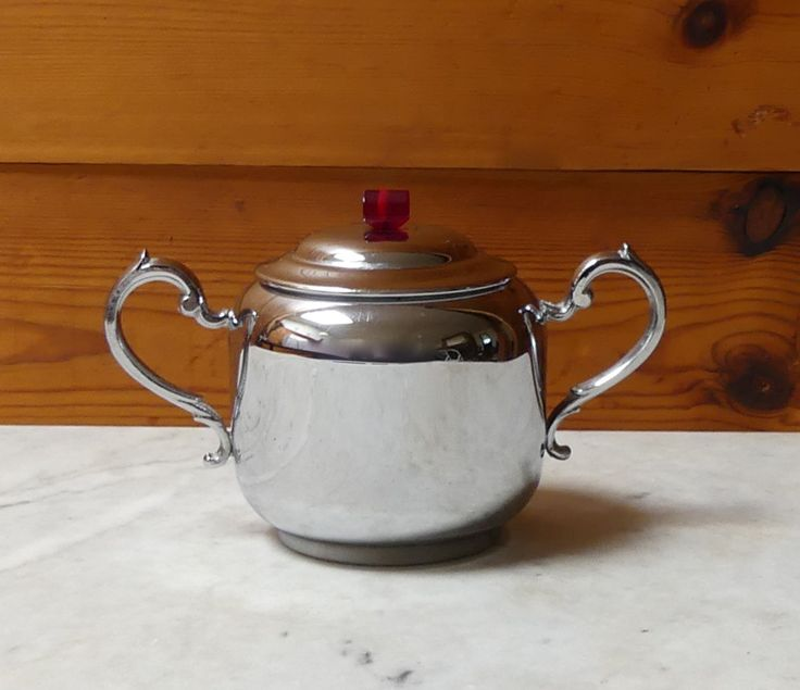 Art Deco Style Chromium Plated Silver Lidded Sugar Bowl with Bakelite Handle on Lid by JessaBellas on Etsy