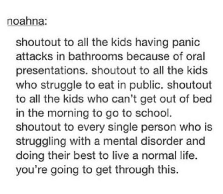 ❤️❤️  A good friend of mine suffers from anxiety and gender dysphoria, and he has had to deal with panicking in school. so here's to all of you, and that it will one day be okay.
