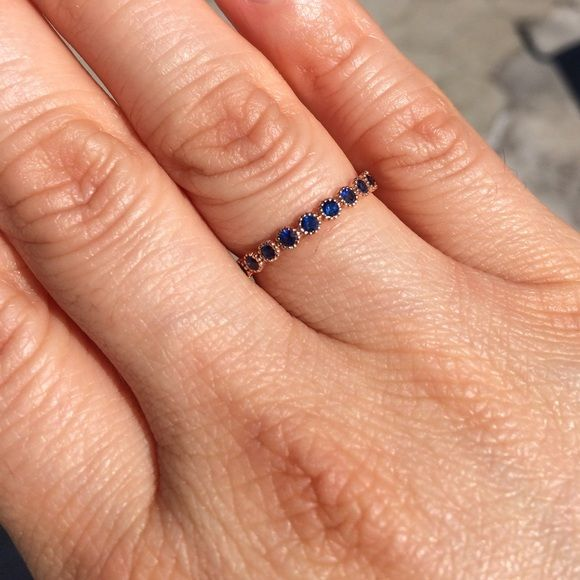 14KT Rose gold & Blue Sapphire Eternity Band Absolutely gorgeous! Ready to wear as a unique wedding band or a gorgeous stacking ring. Rose gold and blue sapphires. Jewelry Rings