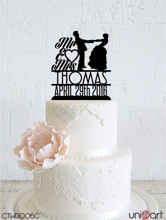 Bride and Groom Personalized Wedding Cake Topper, Customizable Lastname and Date, Removable Stakes, Free Base for After Event, Gift CTWD006C