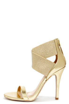 Anne Michelle Enzo 53 Gold Crisscrossing Ankle Strap Heels at LuLus.com!