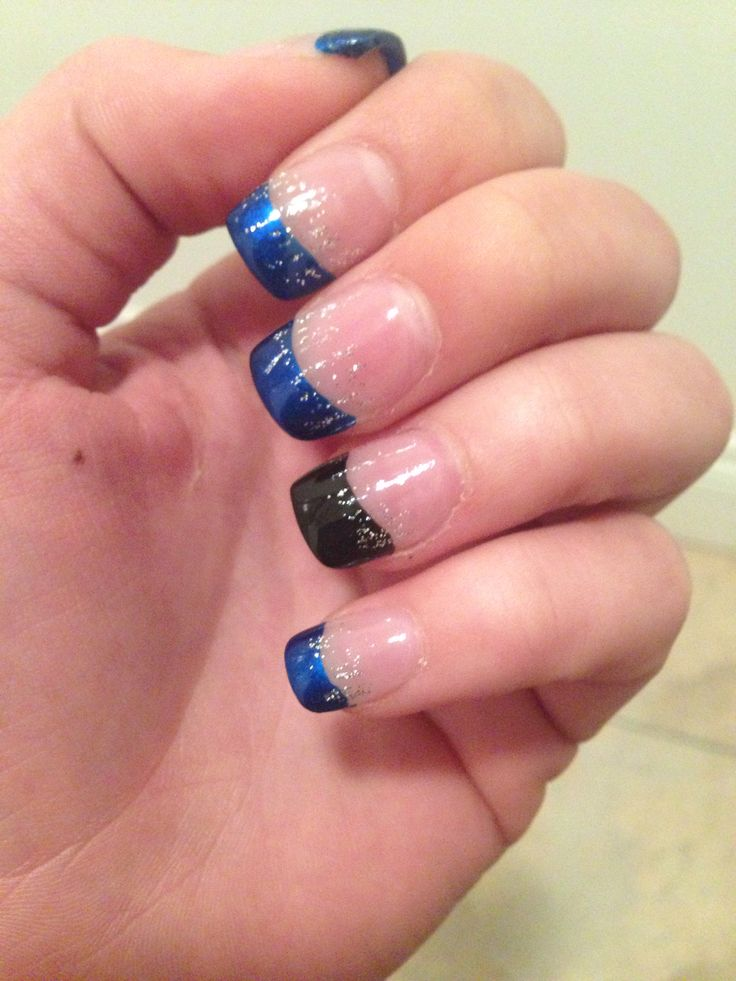 Nails For Prom!!! Royal Blue And Black!