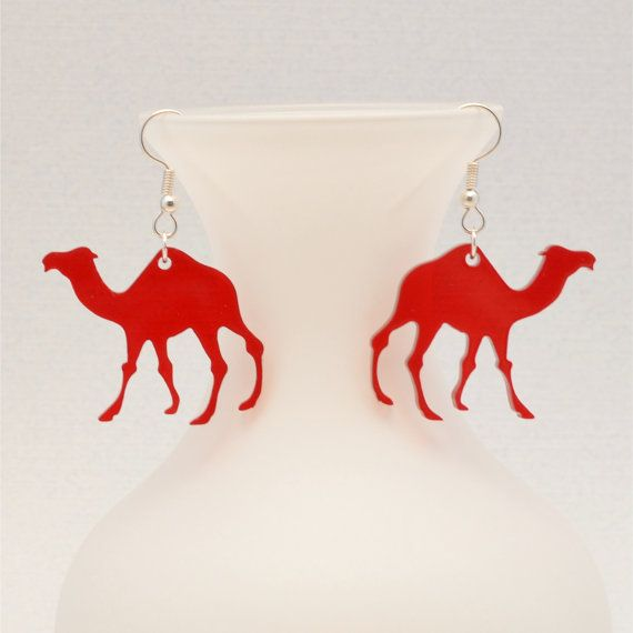 Laser Cut Camel Earrings - Treasury Featured - Hump Day Jewelry