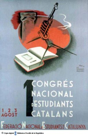 1 Congrés Nacional d'Estudiants Catalans : 1,2 3 agost :: Cartells del Pavelló de la República (Universitat de Barcelona)