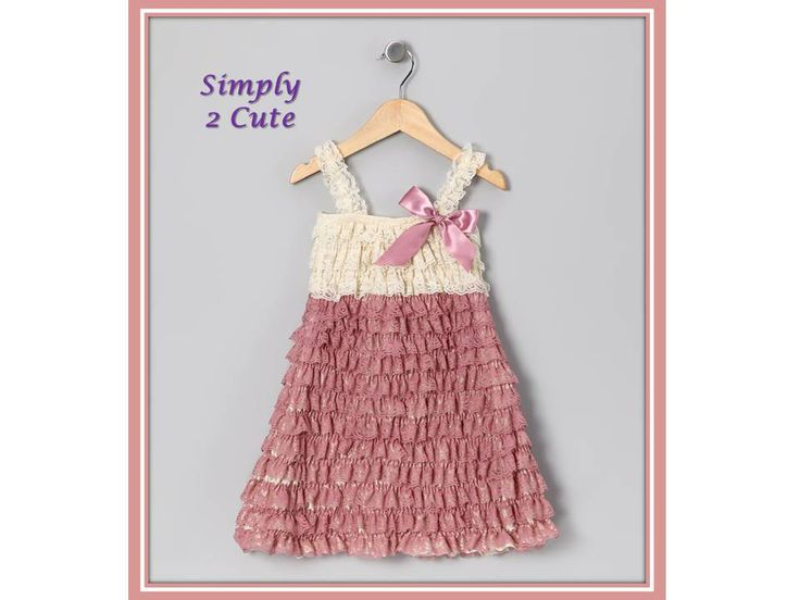 'NOVA' - Dusky pink and Cream lace ruffle dress of stretchy material. Length from shoulder to hem is 55cm. Suitable for 4-6 years.