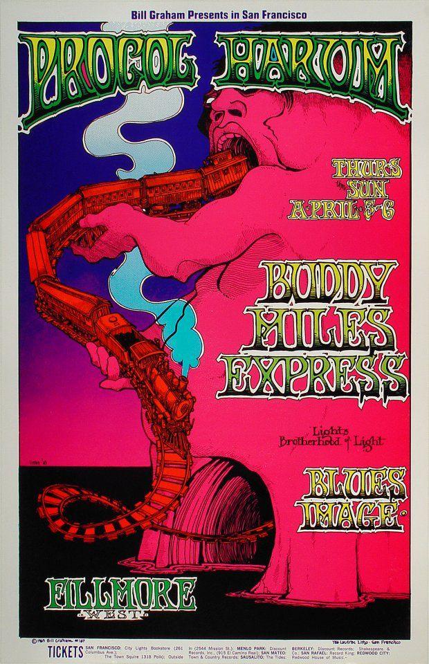 4/3-6/ 1969 ..... Fillmore West ......     ..  Procol Harum .... Buddy Miles Express .... Blues Image ....   .  artist ...... GREG IRONS