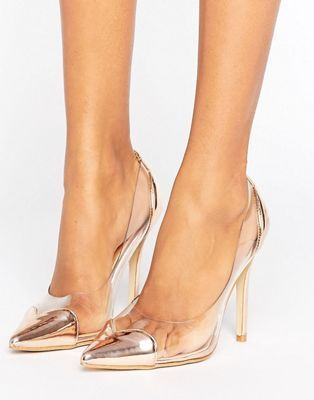 Public Desire Mercedes Heart Clear Rose Gold Court Shoes