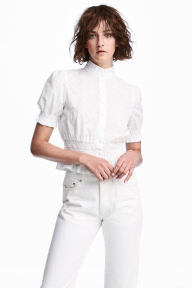 Bawełniana bluzka - Biały - ONA   H&M PL