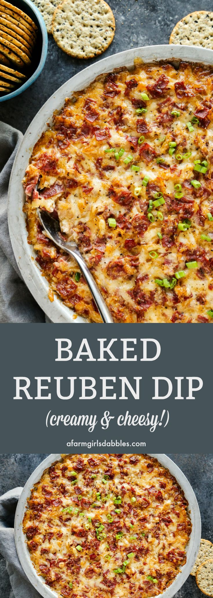Meghan's Reuben Dip is like a deconstructed Reuben sandwich, all magnificently reborn into a baked ooey gooey, cheesy dip!