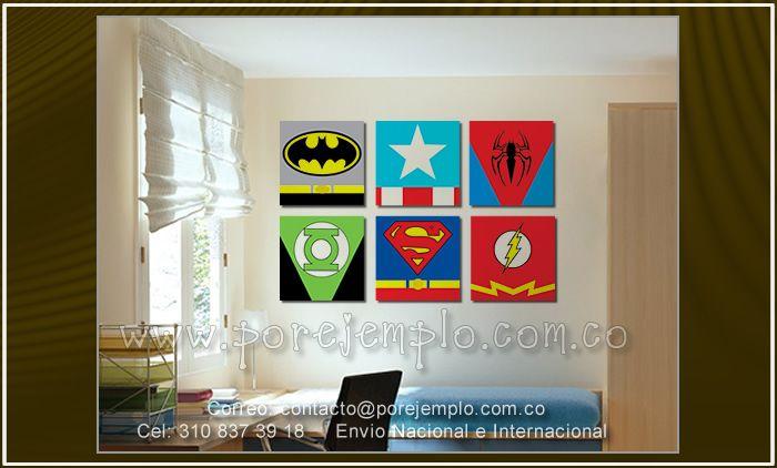 Cuadros de super heroes para ni os o jovenes 6 cuadros de - Cuadros decorativos para ninos ...