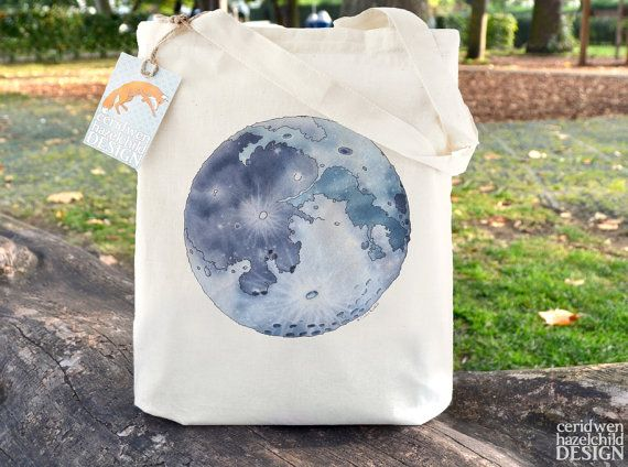 Moon Fair Trade Tote Bag Reusable Shopper Bag by ceridwenDESIGN