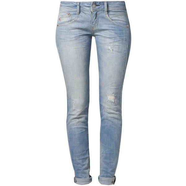 Herrlicher GILA Slim fit jeans ($120) ❤ liked on Polyvore featuring jeans, pants, bottoms, calças, pantalones, blue, zipper jeans, herrlicher jeans, blue jeans and blue slim jeans
